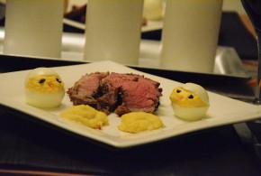 Finished Roasted Leg of Lamb with Deviled Egg Chicks and Duchess Jicama