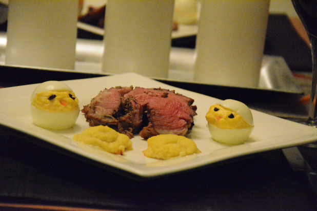 Finished Roasted Leg of Lamb with Deviled Egg Chicks and Duchess Jicama