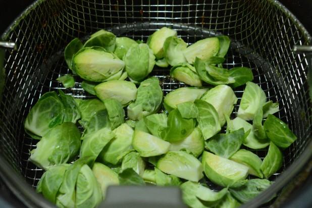 Brussels Sprouts in Fryer Basket