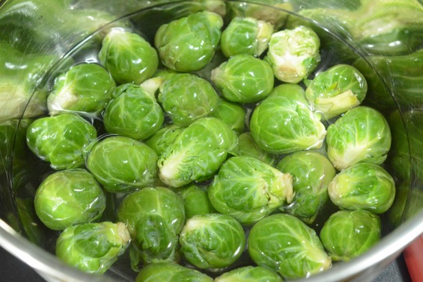 Washing Brussels Sprouts