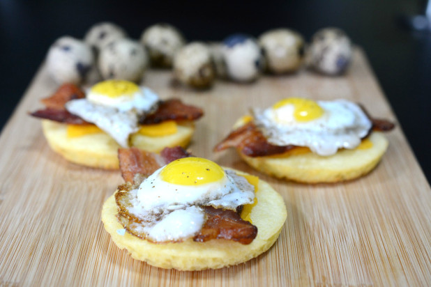 Open Faced Quail Egg Sandwich