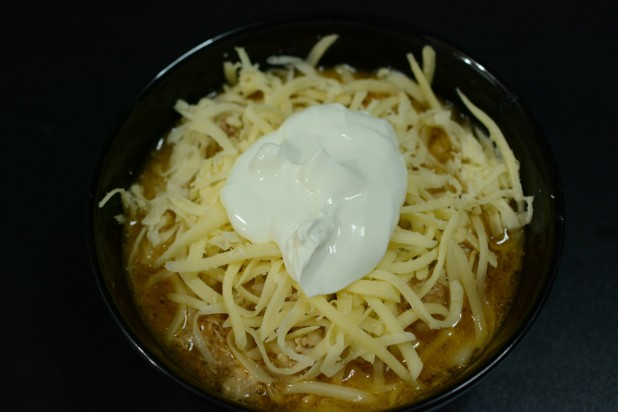 Chicken Chili Soup with Cheese and Sour Cream