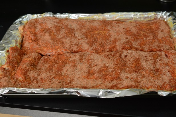 Ribs Coated and Ready for the Oven