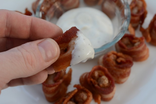 Bacon Wrapped Sausage Dipped in Ranch