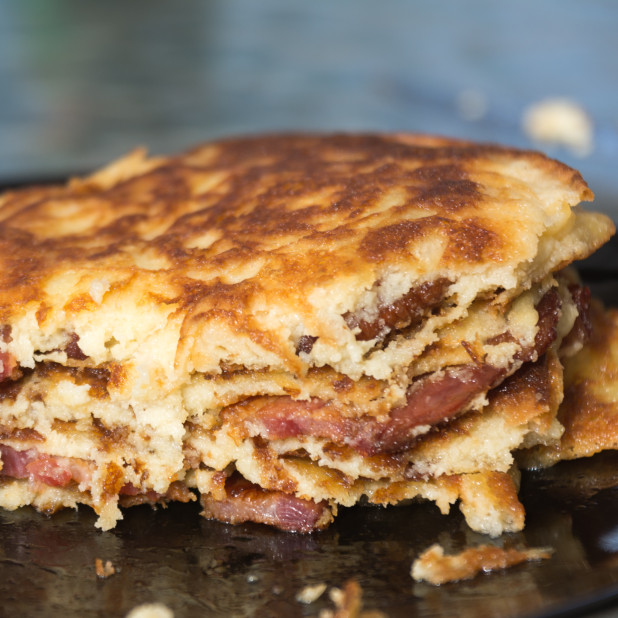 Inside of Bacon Keto Pancakes