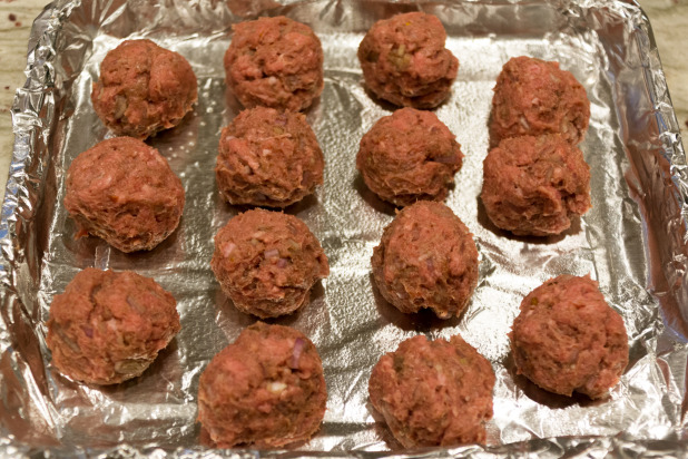 Lamb Meatballs Ready for the Oven