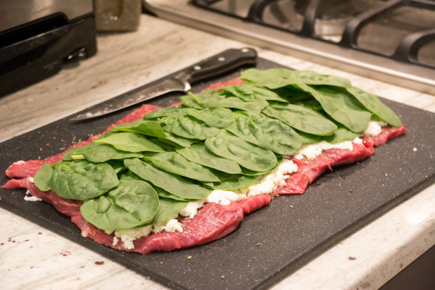 Spinach on Flank Steak