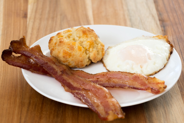 Cheddar Carbquik Biscuit with Bacon and Eggs