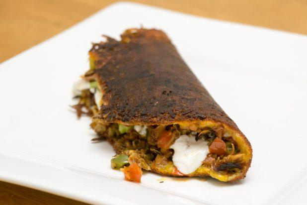 Cheese Crusted Pork Carnitas Taco